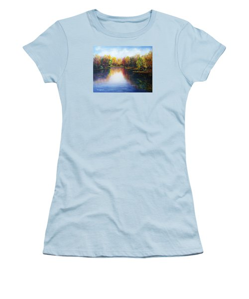 Women's T-Shirt (Junior Cut) featuring the painting Autumn Reflections  by Vesna Martinjak