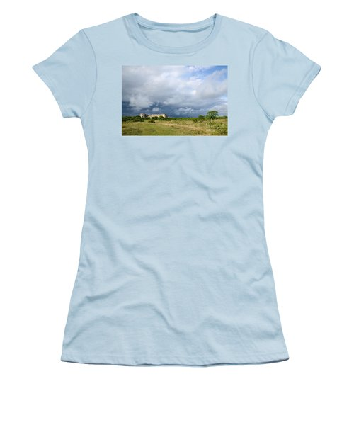 Women's T-Shirt (Junior Cut) featuring the photograph Bad Weather Is Coming Up At  A Medieval Castle Ruin by Kennerth and Birgitta Kullman