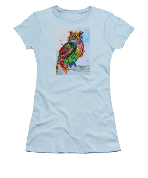 Baffled Owl Women's T-Shirt (Junior Cut) by Beverley Harper Tinsley