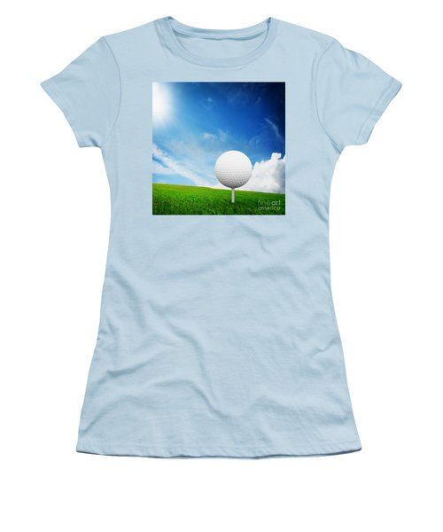 Ball On Tee On Green Golf Field Women's T-Shirt (Athletic Fit)