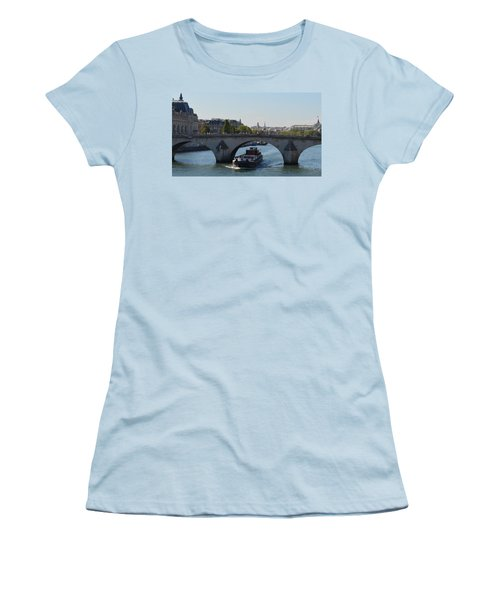 Barge On River Seine Women's T-Shirt (Junior Cut) by Cheryl Miller