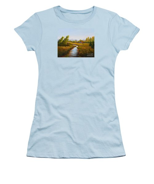 Barn And Stream Women's T-Shirt (Athletic Fit)
