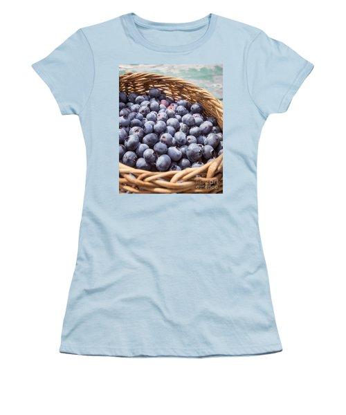 Basket Of Fresh Picked Blueberries Women's T-Shirt (Junior Cut) by Edward Fielding