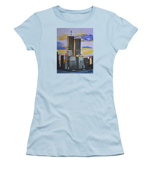 Women's T-Shirt (Junior Cut) featuring the painting Before The Fall by Donna Blossom