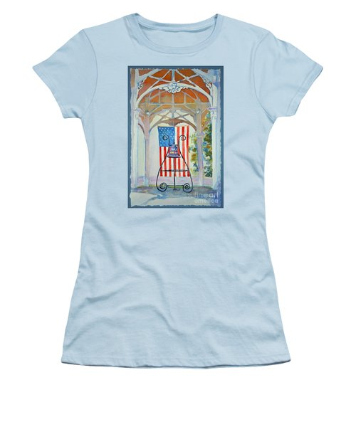 Women's T-Shirt (Junior Cut) featuring the painting Bell And Flag by Mary Haley-Rocks