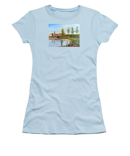 Women's T-Shirt (Junior Cut) featuring the painting Belmore Basin From The North Sea Wall by Pamela  Meredith