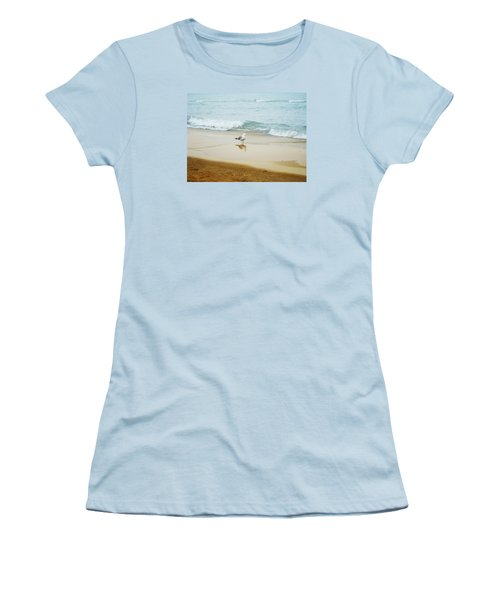 Women's T-Shirt (Junior Cut) featuring the photograph Bird On The Beach by Milena Ilieva