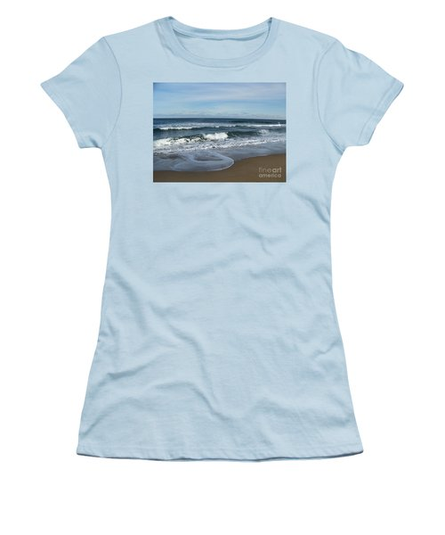 Women's T-Shirt (Junior Cut) featuring the photograph Winter Beach  by Eunice Miller