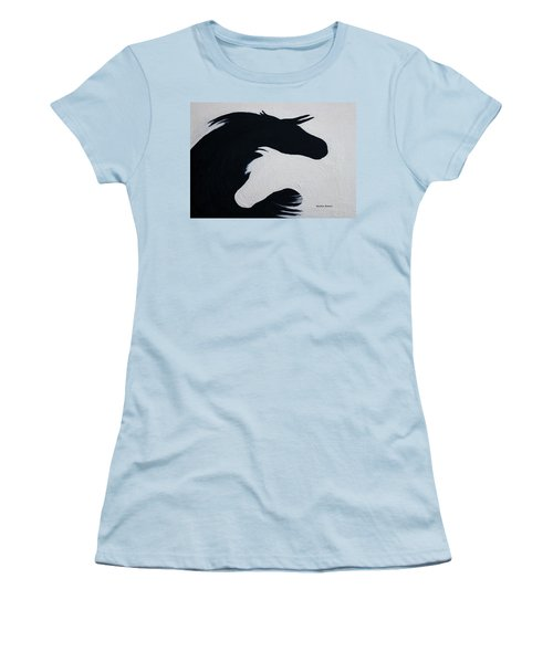 Black And White Horses Together Forever Women's T-Shirt (Athletic Fit)