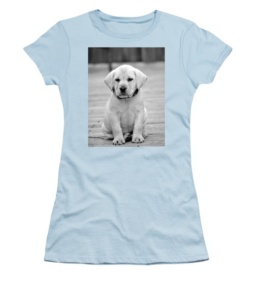 Black And White Puppy Women's T-Shirt (Athletic Fit)