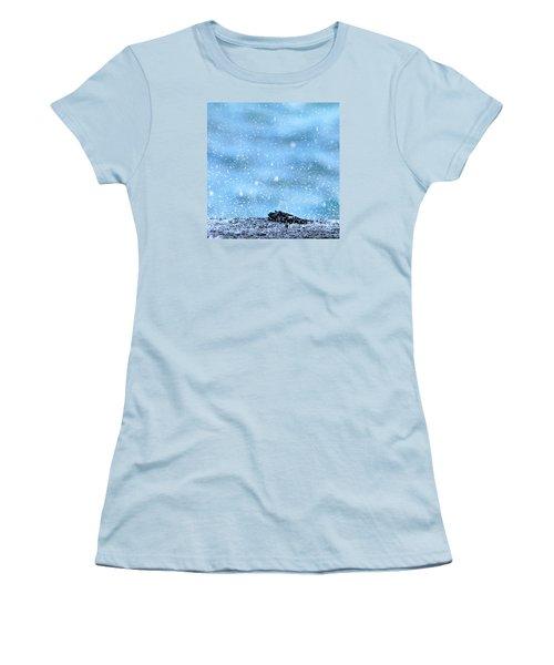 Women's T-Shirt (Junior Cut) featuring the photograph Black Crab In The Blue Ocean Spray by Lehua Pekelo-Stearns