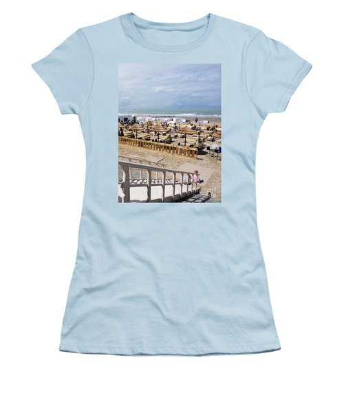 Women's T-Shirt (Junior Cut) featuring the photograph Blankenberge Beach Belgium by PainterArtist FIN