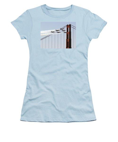 Blue Angels And The Bridge Women's T-Shirt (Junior Cut) by Bill Gallagher