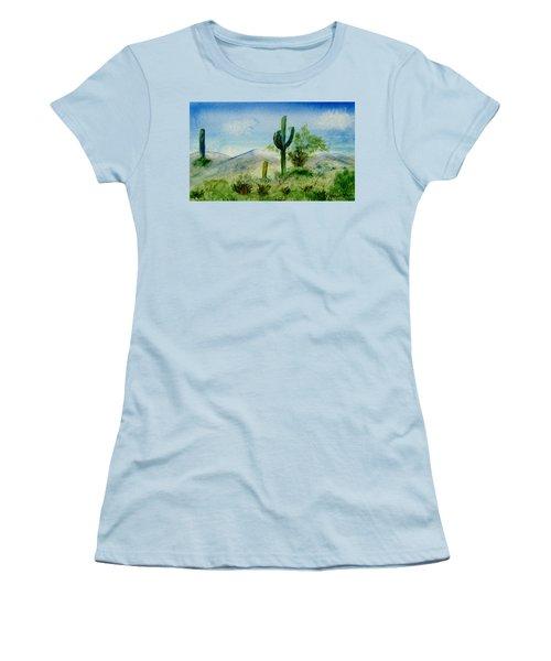 Blue Cactus Women's T-Shirt (Junior Cut) by Jamie Frier