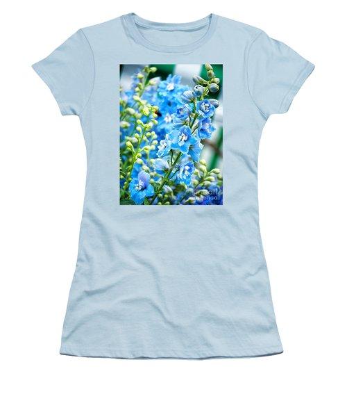 Blue Flowers Women's T-Shirt (Athletic Fit)