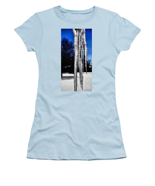 Women's T-Shirt (Junior Cut) featuring the photograph Blue Ice by Luther Fine Art