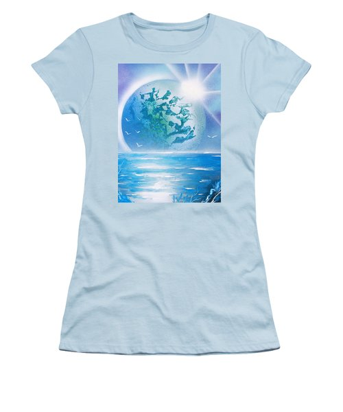 Women's T-Shirt (Junior Cut) featuring the painting Blue Moon by Greg Moores