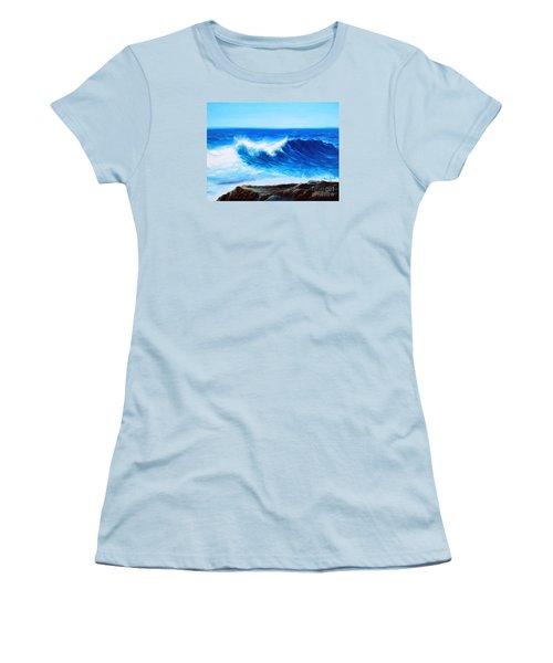 Women's T-Shirt (Junior Cut) featuring the painting Blue by Vesna Martinjak