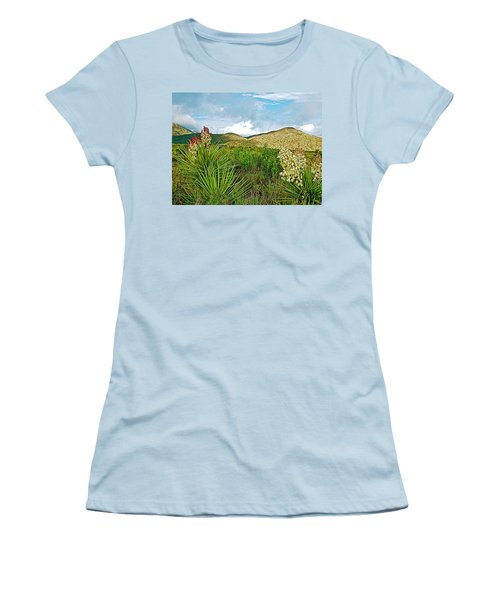 Blue Yucca And Chisos Mountains In Big Bend National Park-texas Women's T-Shirt (Junior Cut) by Ruth Hager