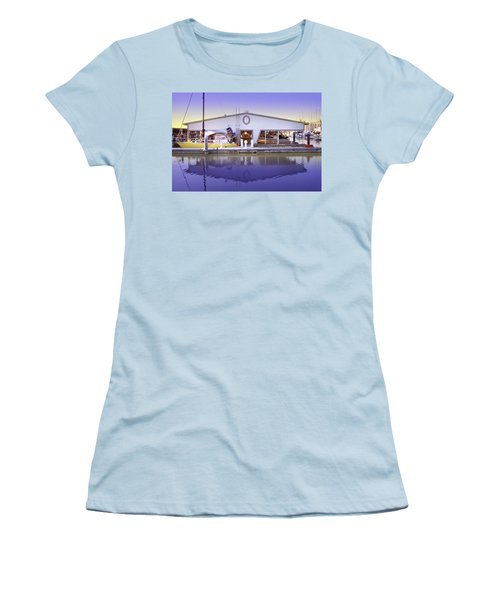 Women's T-Shirt (Junior Cut) featuring the photograph Boat House by Sonya Lang