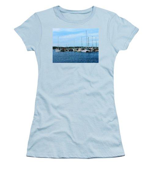 Women's T-Shirt (Junior Cut) featuring the photograph Boats At Newport Ri by Susan Savad