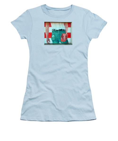 Born In The Usa Urban Garage Door Mural Women's T-Shirt (Junior Cut)