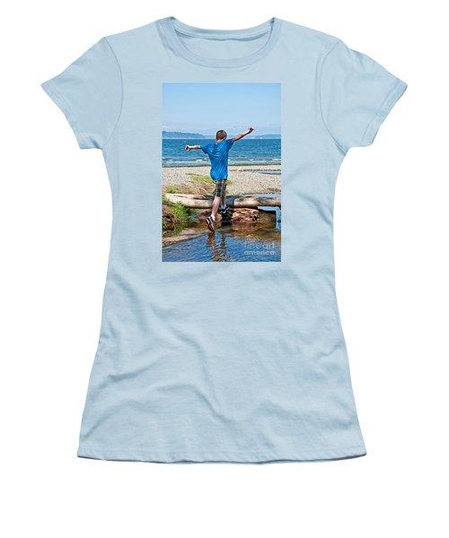 Boyhood Fun Art Prints Women's T-Shirt (Junior Cut) by Valerie Garner