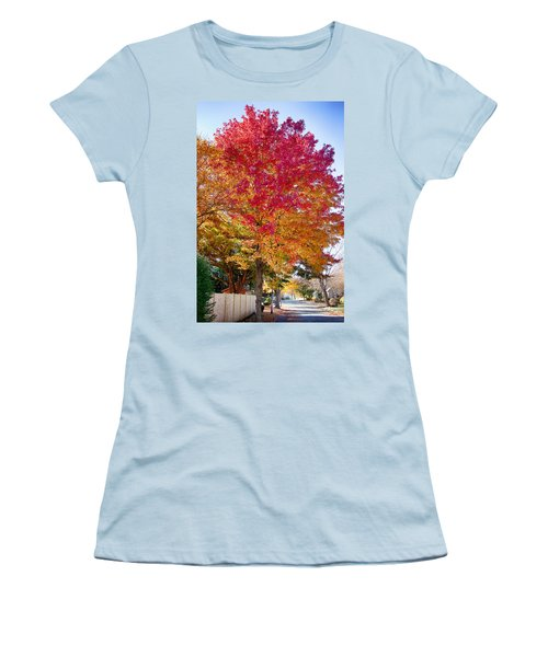 brilliant autumn colors on a Marblehead street Women's T-Shirt (Junior Cut) by Jeff Folger