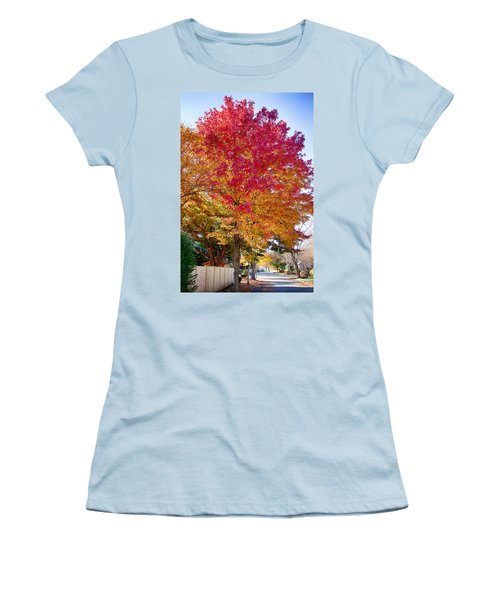 brilliant autumn colors on a Marblehead street Women's T-Shirt (Athletic Fit)