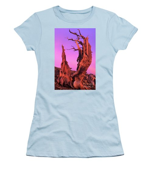 Women's T-Shirt (Junior Cut) featuring the photograph Bristlecone Pine At Sunset White Mountains Californa by Dave Welling