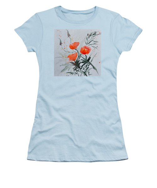 California Poppies Sumi-e Women's T-Shirt (Athletic Fit)