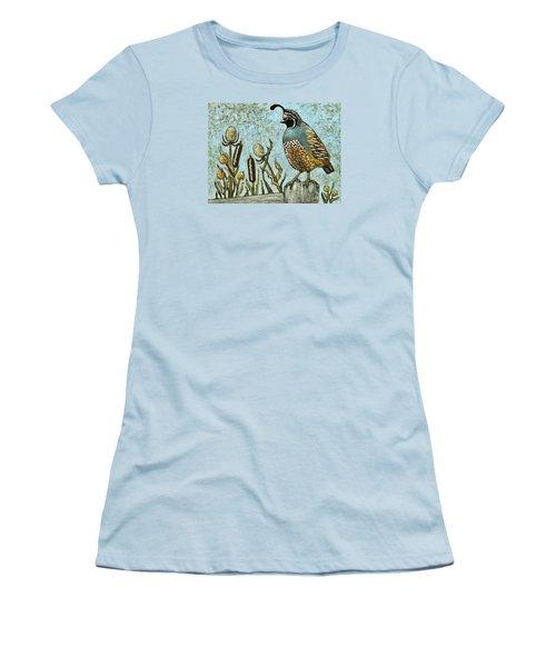 Women's T-Shirt (Junior Cut) featuring the painting California Quail by VLee Watson