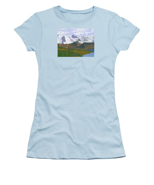 Women's T-Shirt (Junior Cut) featuring the digital art Canadian Rockies by Terry Frederick