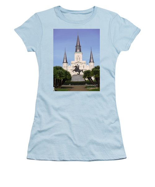 Women's T-Shirt (Junior Cut) featuring the photograph Cathedral In Jackson Square by Alys Caviness-Gober