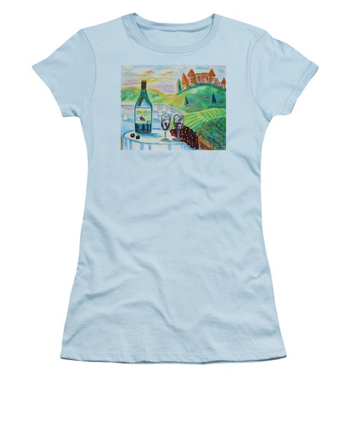 Women's T-Shirt (Junior Cut) featuring the painting Chateau Wine by Diane Pape