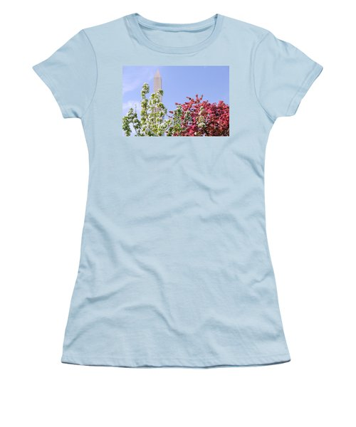 Women's T-Shirt (Junior Cut) featuring the photograph Cherry Trees And Washington Monument Four by Mitchell R Grosky