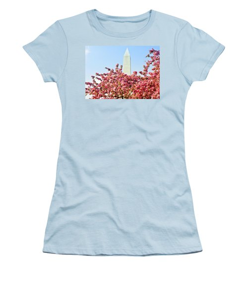 Cherry Trees And Washington Monument Two Women's T-Shirt (Junior Cut) by Mitchell R Grosky