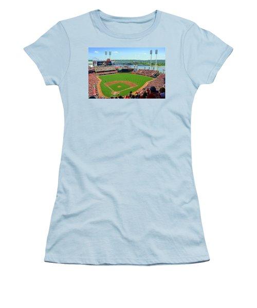 Cincinnati Reds Stadium Women's T-Shirt (Junior Cut) by Kathy Barney