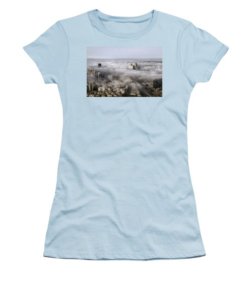 Women's T-Shirt (Junior Cut) featuring the photograph City Skyscrapers Above The Clouds by Ron Shoshani