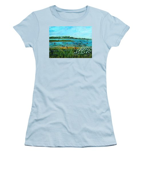 Women's T-Shirt (Junior Cut) featuring the painting Clam Diggers At Menauhant Beach by Rita Brown