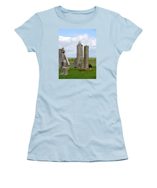 Women's T-Shirt (Junior Cut) featuring the photograph Clonmacnoise Towers by Suzanne Oesterling