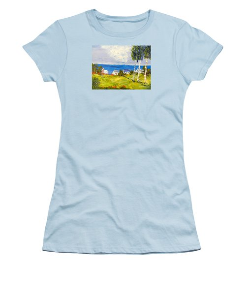 Women's T-Shirt (Junior Cut) featuring the painting Coastal Fishing Village by Pamela  Meredith