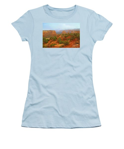 Colorado Natl Monument Snow Coming Down The Canyon Women's T-Shirt (Athletic Fit)