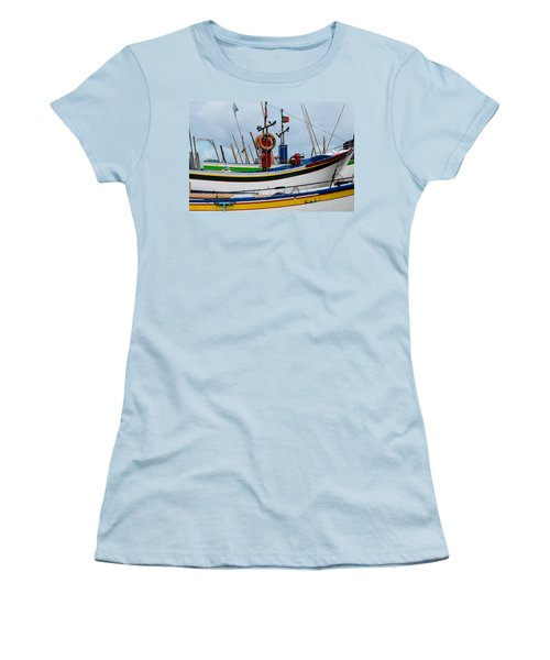 colorful fishing boat with Portuguese flag  Women's T-Shirt (Athletic Fit)