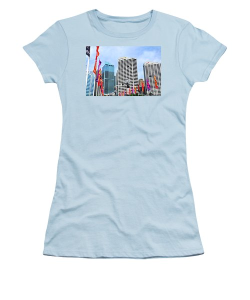 Colorful Flags Lead To City By Kaye Menner Women's T-Shirt (Junior Cut) by Kaye Menner