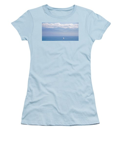 Colors Of Alaska - Sailboat And Blue Women's T-Shirt (Athletic Fit)