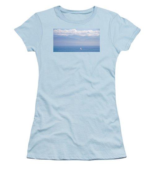 Colors Of Alaska - Sailboat And Blue Women's T-Shirt (Junior Cut)