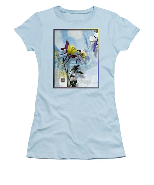 Columbine Blossom With Suminagashi Ink Women's T-Shirt (Junior Cut) by Peter v Quenter