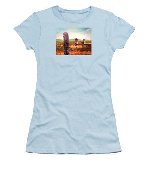 Conversation With A Fencepost Women's T-Shirt (Junior Cut) by Kimberlee Baxter