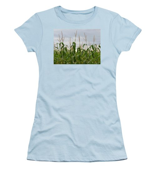 Women's T-Shirt (Junior Cut) featuring the photograph Corn Field by Laurel Powell